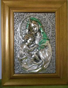 Madonna with Child - 925 silver plated plaque - Italy - 20th century