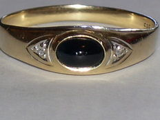 14 karat gold ring with sapphire and diamonds, 0.02 ct - size 18.8 mm