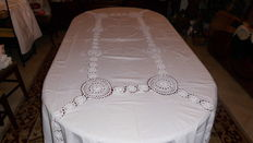 Cotton tablecloth with hand made crochet - Portuguese - 1960