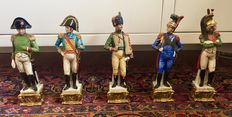 G. Cortese - collection of 5 Capodimonte Porcelain figurines depicting soldiers of Napoleon's army