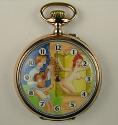 Pocket watch; Hera Cylinder 10 Rubis Phenix with erotic dial - Mid 20th century