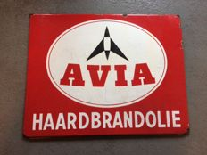 Enamel advertising sign for AVIA Haardbrandolie (Fire oil) - mid last century (50s/60s)