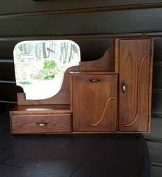 Solid wood cabinet with mirror ca. 1950 Belgium