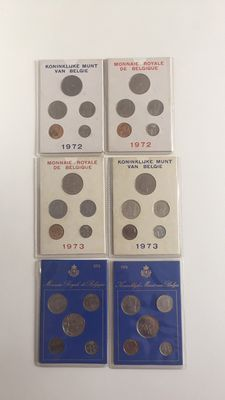 Belgium - Year sets 1972, 1973 and 1974 French and Flemish (6 sets in total)