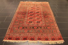 Antique hand-knotted collector's carpet, oriental carpet, Russian Bukhara Yomut, approx. 80 years old, antique, natural dyes, 157 x 240 cm