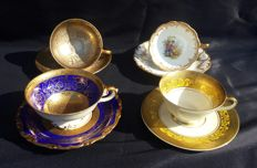 Lot o 4 porcelain cups with saucer