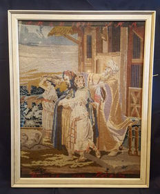 Large Italian embroidery panel tapestry - religious scene