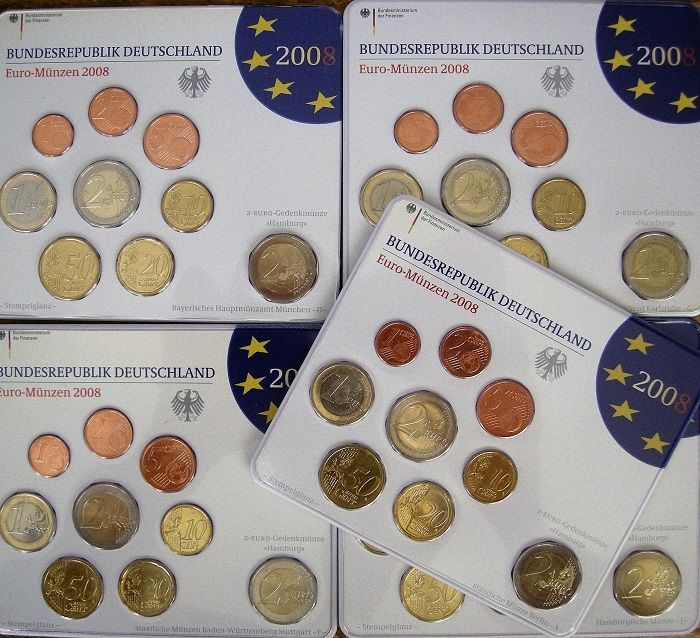 Germany - Jaarsets Euromunten 2008 A-D-F-G-J incl. 5 x 2 euro Michaelis