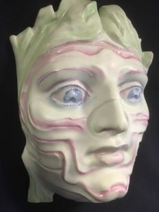 "Porcelain object, Mask , ""Inkognito"", Fabrication Rosenthal AG wall mask"