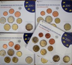 Germany – year pack Euro coins 2008, A, D, F, G, J, including 2 Euro coin St. Michaelis-Kirche.