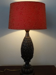 Large wooden table lamp with red/gold shade