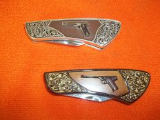 Franklin Mint Collector Pocket Knives - Colt 1911 Automatic and Colt 1915 .22 Target - 1 x 24 kt gold-plated and 1 x silver-plated.