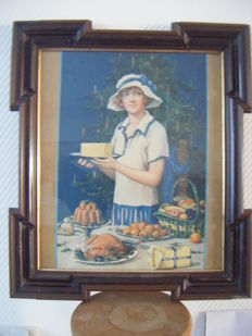 BLUE BAND Girl 1929! Beautiful Art Deco framed image