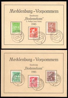"Soviet Zone 1945 - Mecklenburg Vorpommern ""Bodenreform"" 8 Pfg. – 12 Pfg. Both colours each on first day cards - Michel 23/25 a/b"