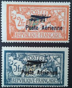 France 1927 - airmail, Salon de Marseilles, signed Brun - Yvert PA no. 1 and 2.