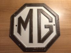 Cast iron advertising sign for MG - late 20th/early 21st century.