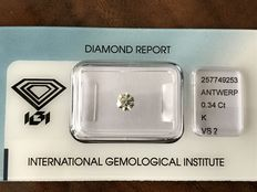 0.34ct briljant geslepen diamant K VS2