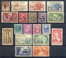 France 1926/1935 – Selection of semi-modern including 3rd Orphelins – Yvert 229/232, 256, 266 à 269, 291/294, 310 à 303, 305, 307/308