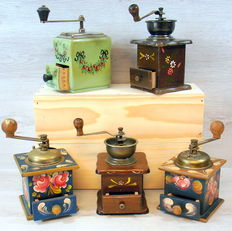 Five painted old fashioned Coffee Grinders, 2nd half of 20th century, Netherlands/Germany