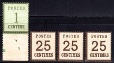 Old Germany NDP 1870 - French Occupation Zone digits 1 C and 25 C, Michel 1I and 7I