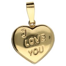 14 kt yellow gold pendant in the shape of a heart - length: 1.5 cm