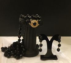 Necklace and dangle earrings with faceted onyx and 14 kt gold frames - 67-69 cm necklace - earrings of 4 cm