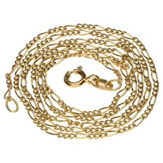 18 kt yellow gold Figaro link necklace - 45.5 cm