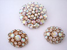Vintage 1960s - USA - Signed Hollycraft - Glitzy Rainbow Coloured Aurora Borealis Demi Parure / Set = Domed Brooch + Huge Earrings