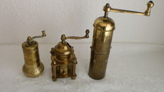 Three old Mocha Mills, brass, Germany, Turkey, 20th century