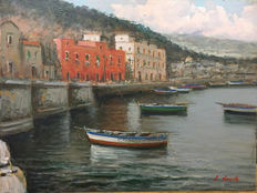 Unknown artist (signed Basile L.) - Marine of Naples