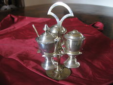 Trio of salt and spices shakers - silver plated - Italy