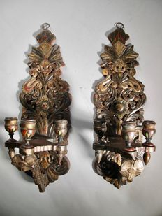 A pair decorative original wooden painted wall sconces - Scandinavian or Russian - 19th century