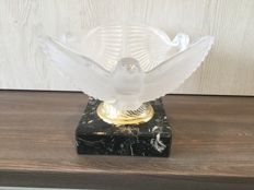 Art Deco clear and frosted glass bowl with doves