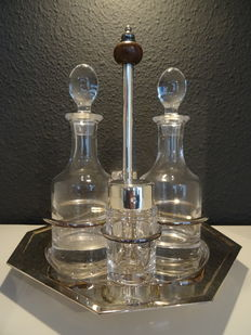Silver plated with crystals menage set, oil and vinegar, salt and pepper
