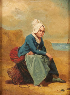 Alfred Guillon (attributed to) (19th - 20th ) - Marine, pêche aux moules