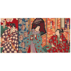 "Lot with 3 large woodblock prints in triptych ""Kabuki scene"" by Baido Hosai - Japan - ca. 1890"