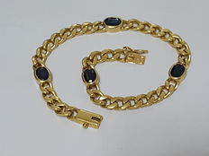 Heavy curb chain bracelet with natural blue sapphires, 18k, sapphires 4ct total