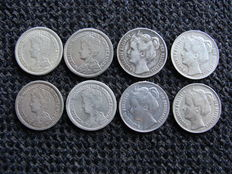 The Netherlands – ½  guilder 1898/1919 Wilhelmina (8 pieces) – silver