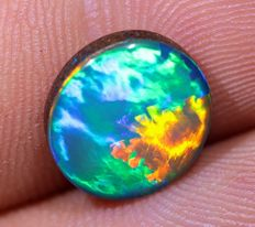 Gem Quality Lightning Ridge Opal Doublet - 10.5 x 9.5 x 3mm - 3ct