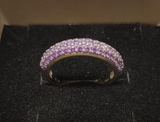 Ring in 18 kt white gold with purple zircons – Size 14