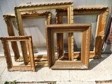 Five gold-plated classic painting frames