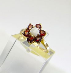 "Natural Opal & Catalan Garnet ""flower power"" ring designed by S&K  - NO RESERVE"