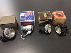 Lot of vintage bike lights, from various years, 4 by Philidyne, Hawe, Hassia and Melas