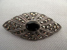 Brooch, marcasite with onyx, silver