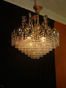 Stylish Bohemian crystal chandelier - brass/copper - 5 light points