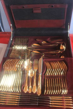 "Fully gold-plated cutlery! Nivella Solingen cutlery case, 72 pieces - ""Antoinette"" Model - 23/24 carat hard gold plated 1000 fine gold,"