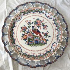 Booths England - Old Dutch - Large polychrome porcelain Peacock decorative dish with openwork  laced edge