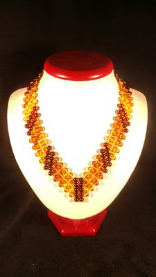 Baltic amber colourful round beads necklace, 30 grams