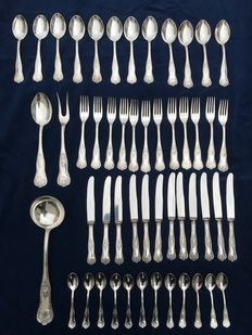 A complete French, 12 person, 800 silver plate cutlery