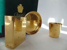 Christofle smoker set in Vermeil (gilded) circa 1950 -collectors item-